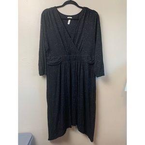 Soma XL Knit Casual Pullover Dress v neck black